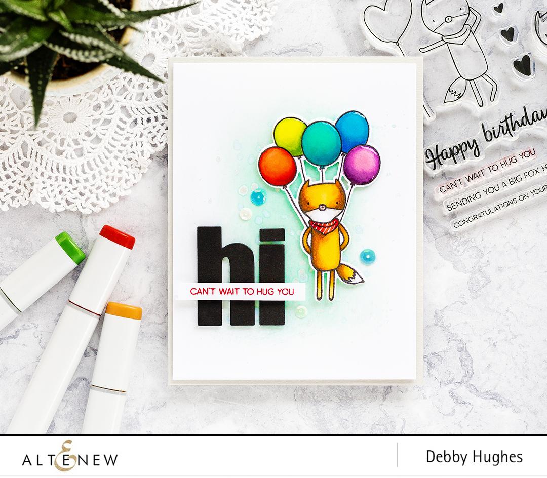 Clean simple and cute card by Debby Hughes featuring the Altenew Hug Me set. Find out more here: http://altenewblog.com/2017/09/15/clean-simple-cute-card/