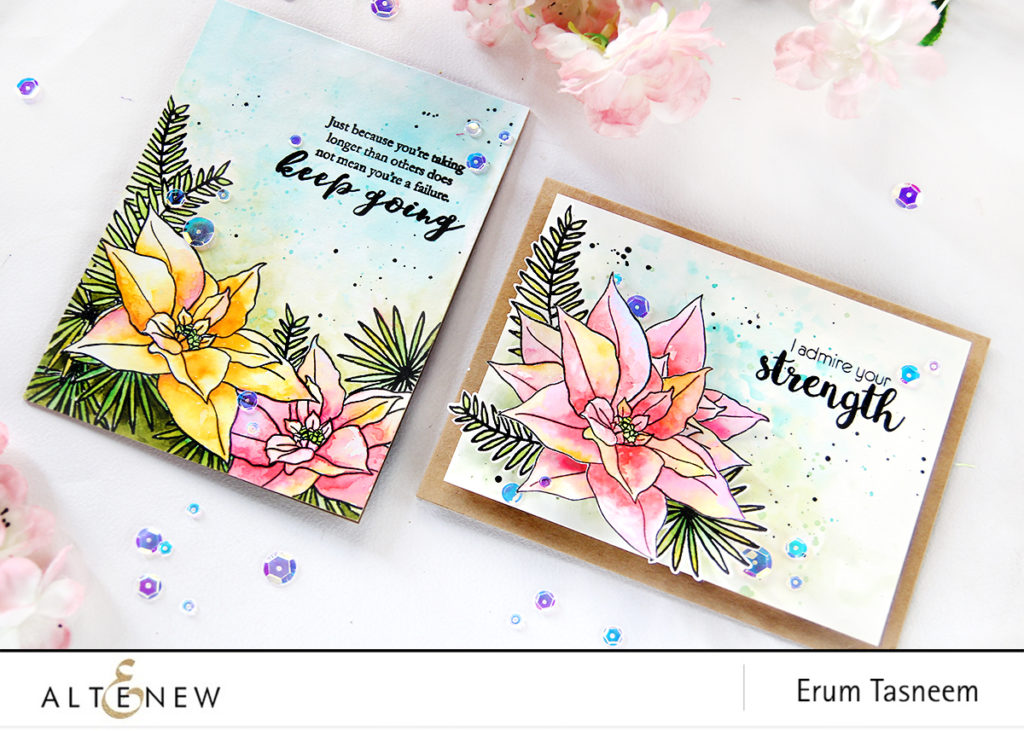 Altenew Build-A-Flower Poinsettia, Parrot Paradise, Just Because and Best Buds Stamp Sets | Erum Tasneem | @pr0digy0 | @altenew