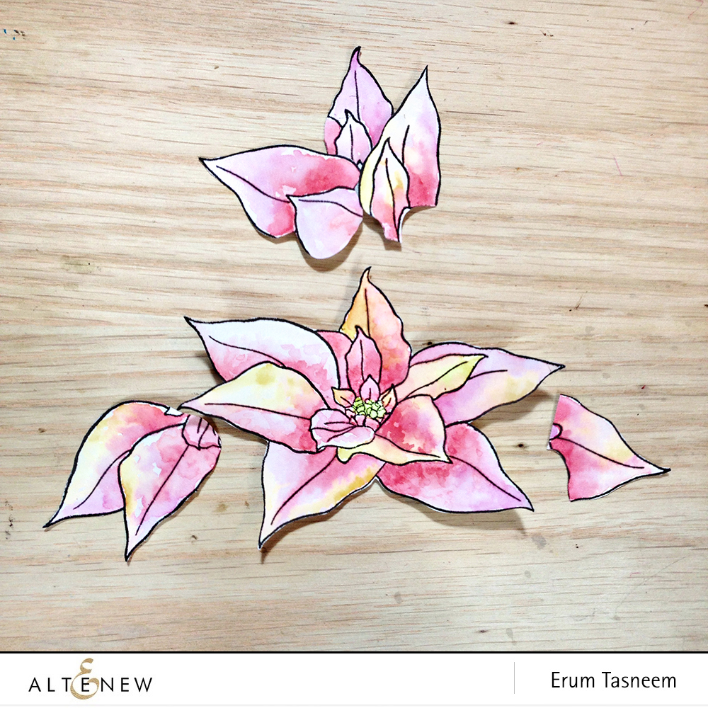 Altenew Build-A-Flower Poinsettia. How to layer two flowers | Erum Tasneem | @pr0digy0