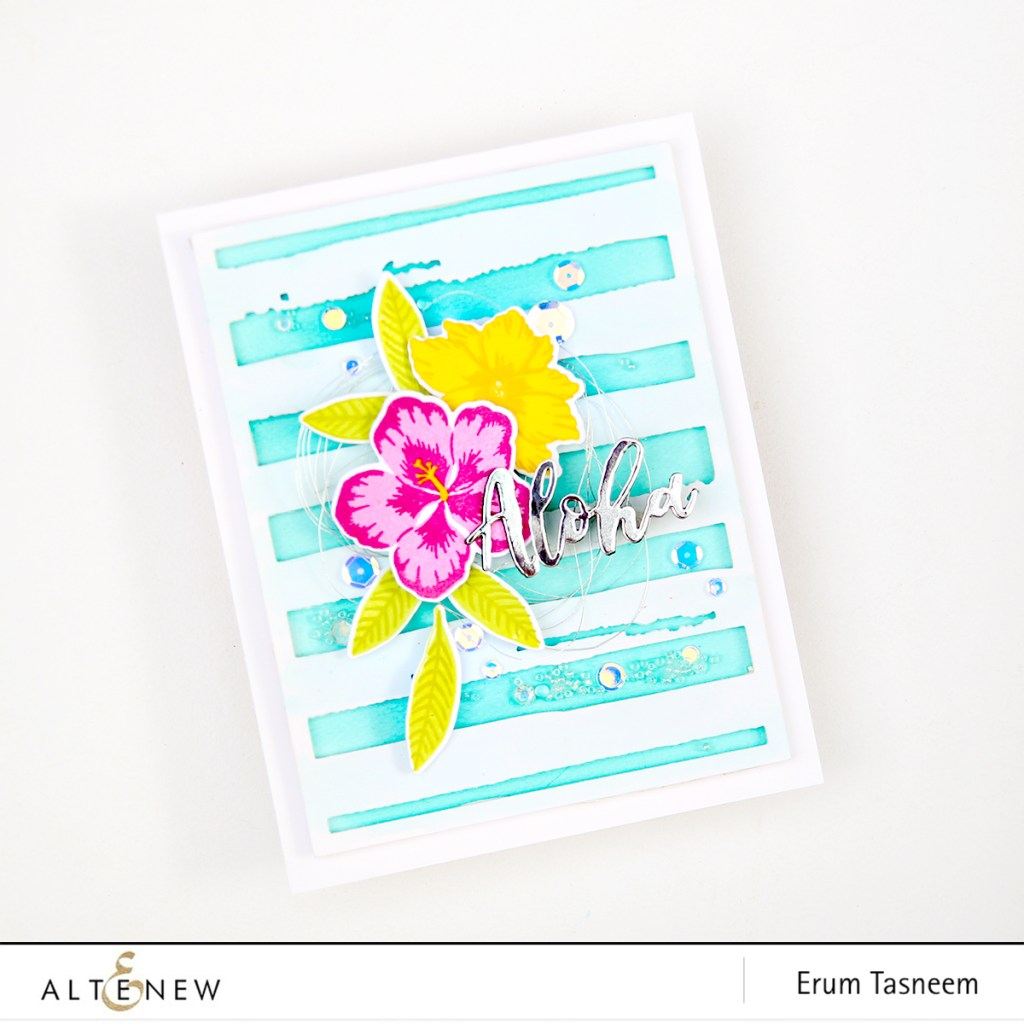 Altenew Totally Tropical Stamp Set   Watercolour Stripes Cover Plate   Erum Tasneem   @pr0digy0   @Altenew