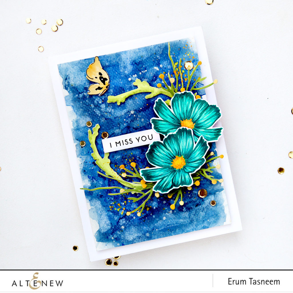 Altenew Stunning Cosmos Stamp Set | Forever and a Day Die Set | Create a Wreath Die Set | Painted Butterflies Stamp Set | Erum Tasneem | @pr0digy0 | @altenew