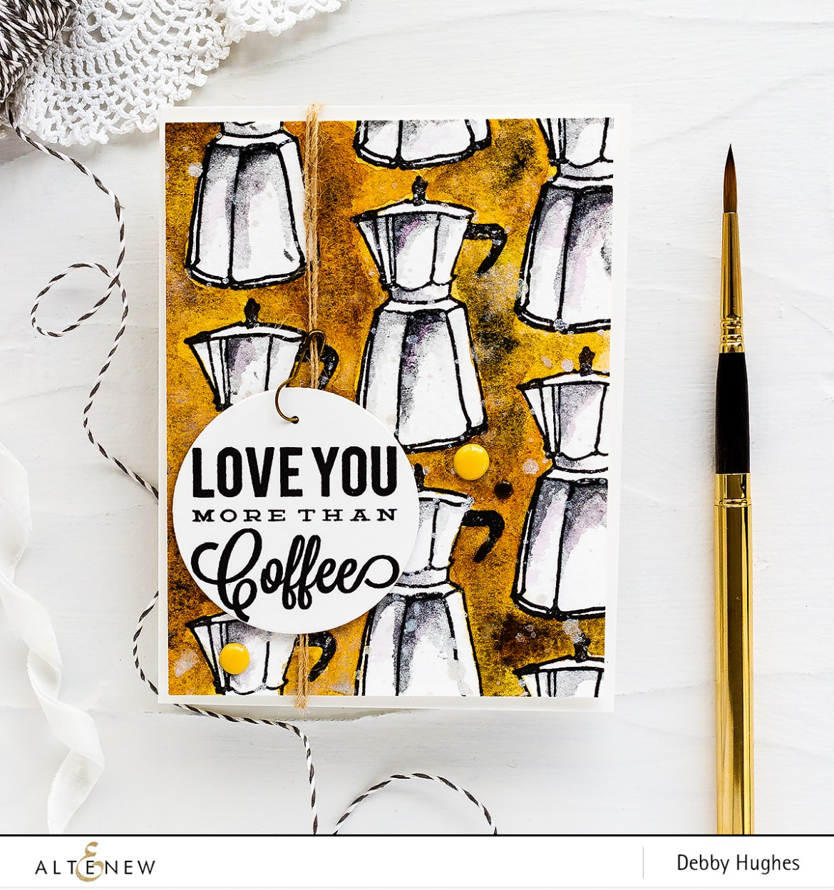 Masculine coffee lover watercolour handmade card by Debby Hughes. Find out more here: http://altenewblog.com/2018/03/23/masculine-coffee-lover-watercolour-card-with-debby/