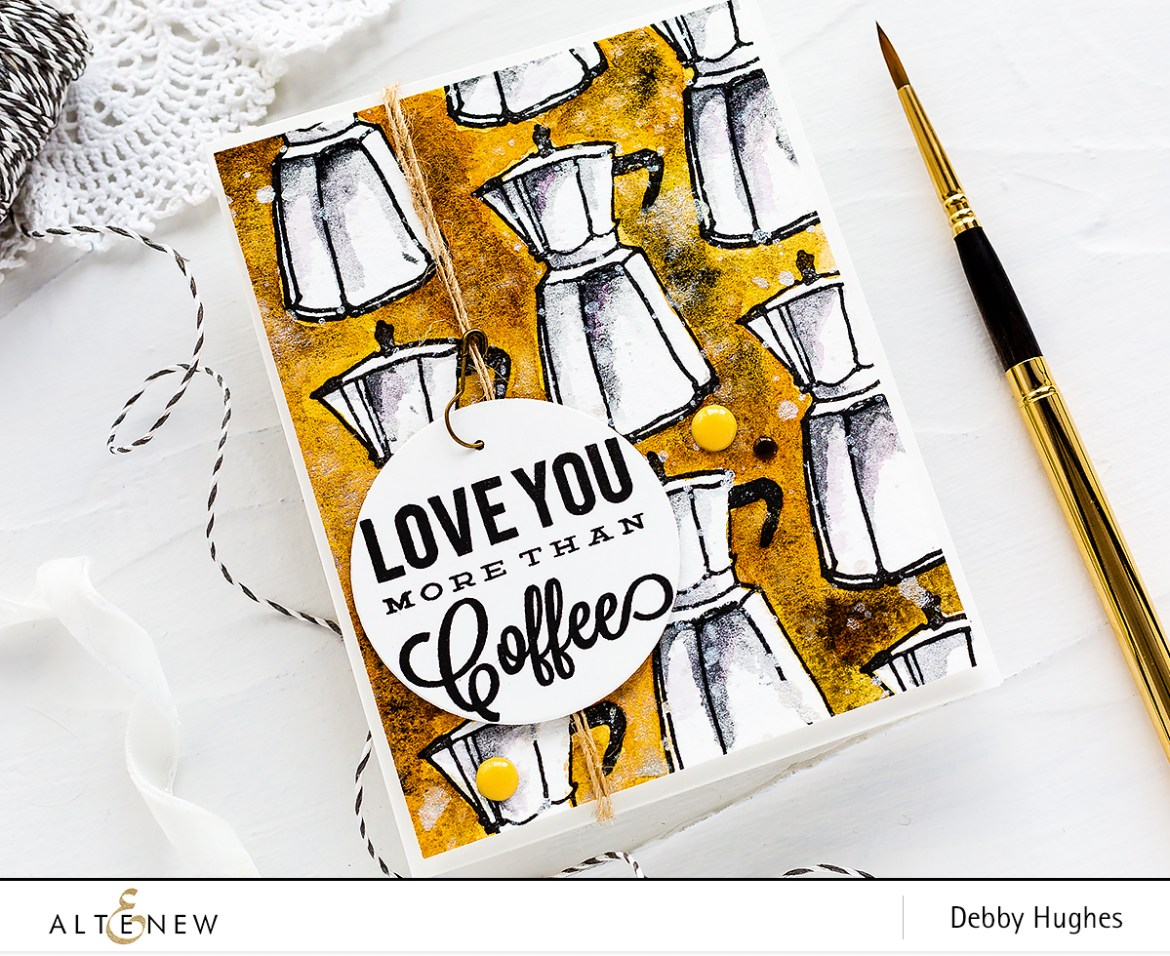 Masculine coffee lover watercolour handmade card by Debby Hughes. Find out more here: https://altenewblog.com/2018/03/23/masculine-coffee-lover-watercolour-card-with-debby/