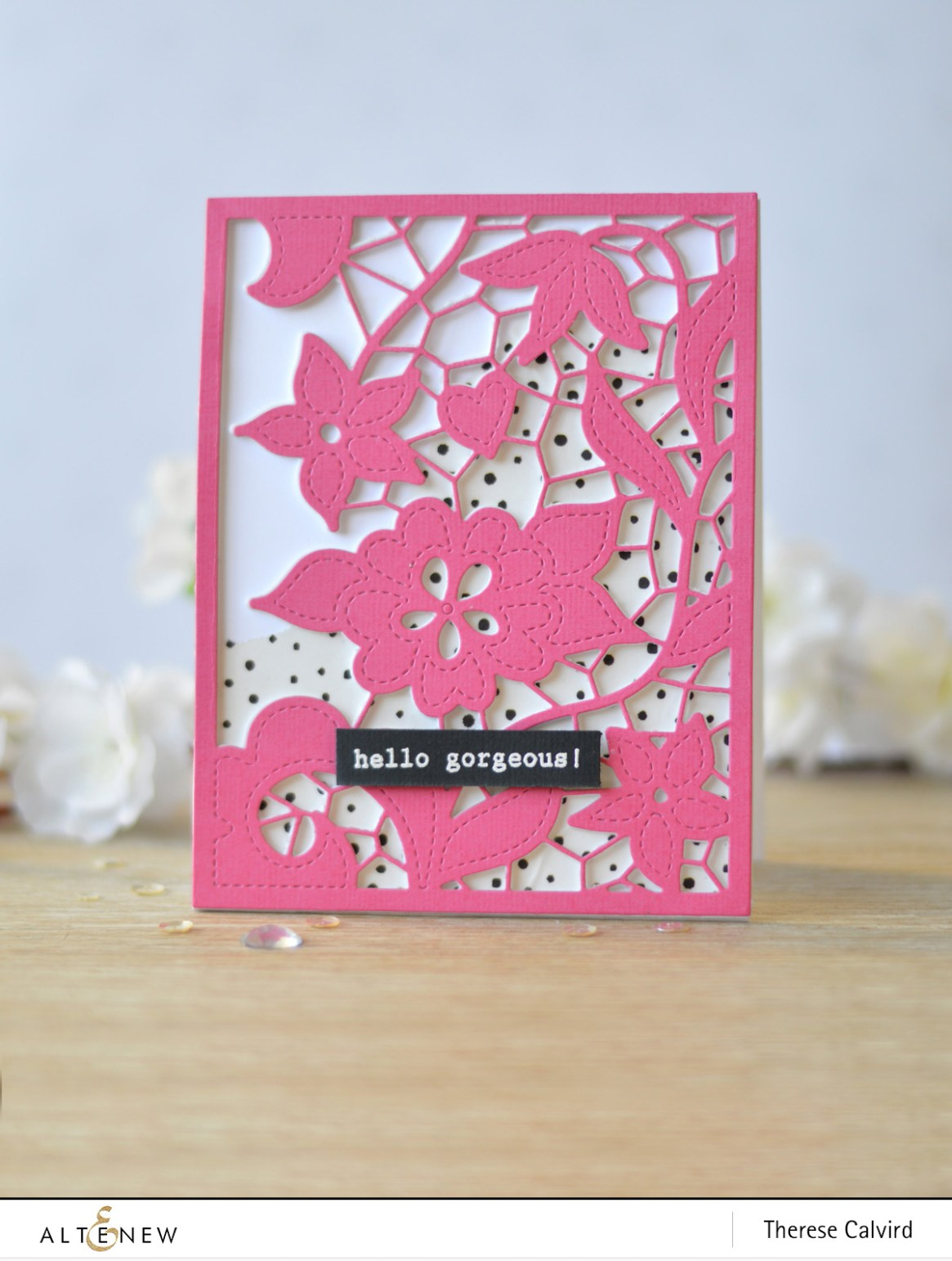 Altenew - Doodled Lace - Layered Floral - Dotted Washi Tape - Therese Calvird (card video) 3 copy
