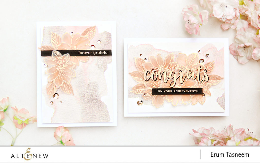 Altenew Wild Hibiscus | Peach Gold Washi | Golden Peah Embossing Powder | Erum Tasneem | @pr0digy0