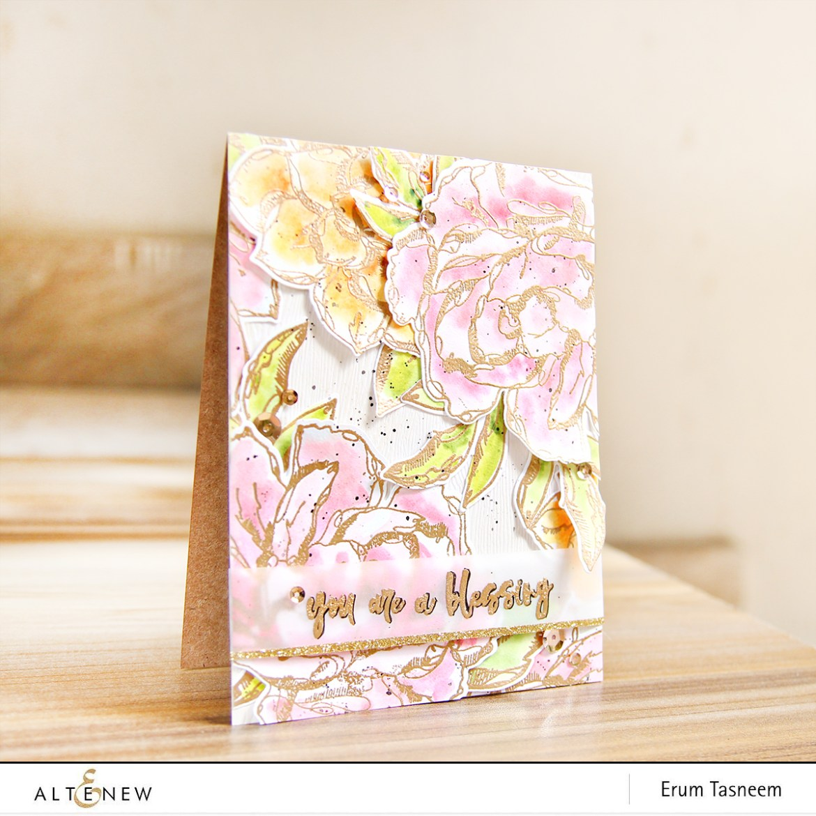Altenew Inked Flora Stamp Set watercoloured with Altenew Watercolours | Erum Tasneem | @pr0digy0