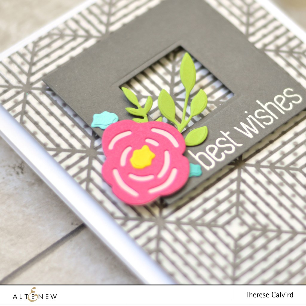 Altenew - Beveled Squares Stencil - Layered Floral Elements - Therese Calvird (Take 2 card video) 5 copy