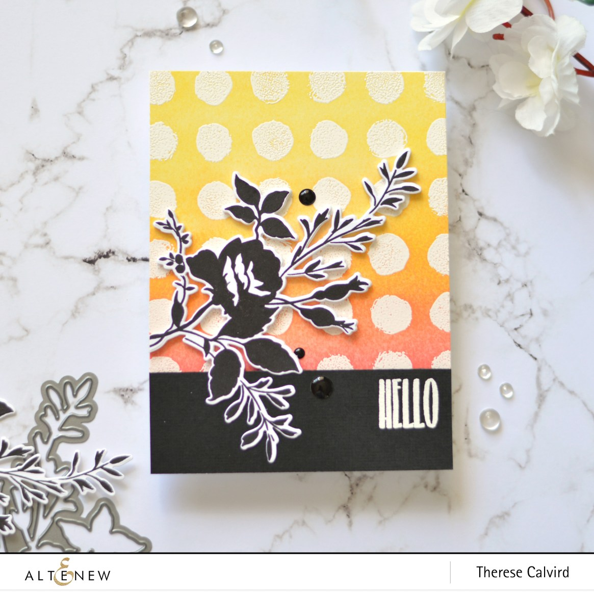Altenew - Watercolor Dots - Dainty Bouquet - Take 2 with Therese (card video) 1 copy