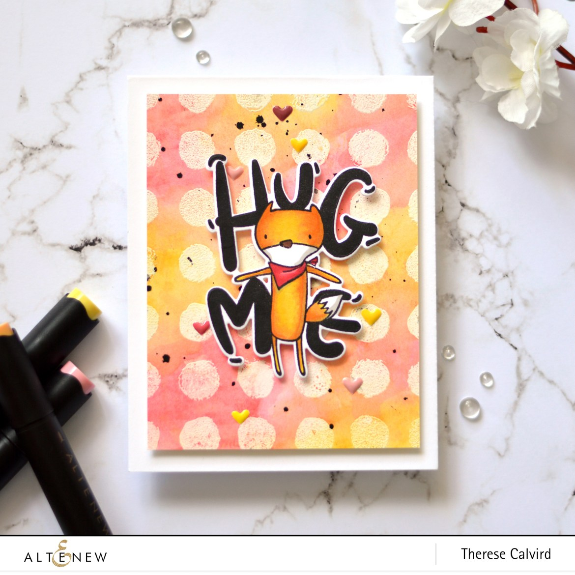 Altenew - Watercolor Dots - Hug Me - Take 2 with Therese (card video) 1 copy
