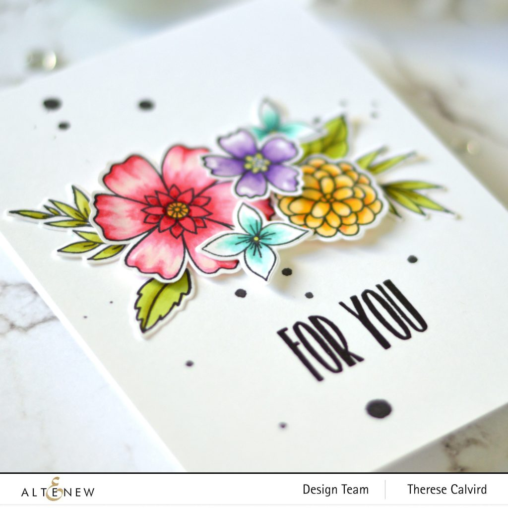 Floral Bouquet - For You Card - Altenew - Wild & Free - Apothecary Labels - Watercolor Dots - Take 2 With Therese 1