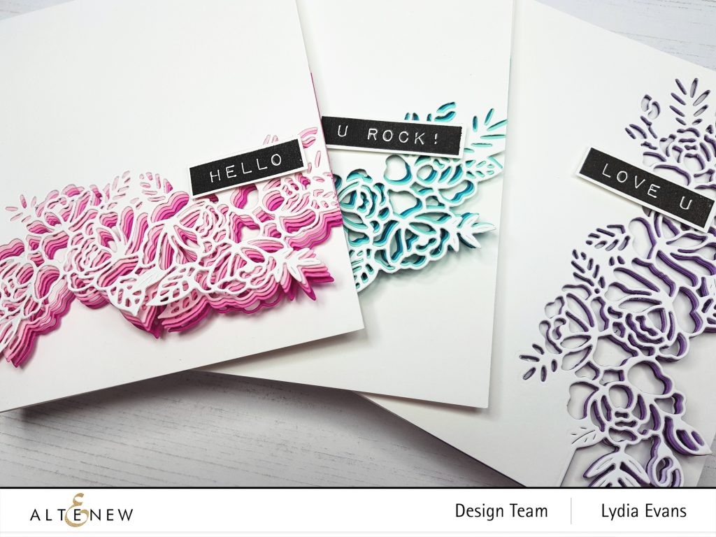 floral cards using Altenew dies and gradient cardstock