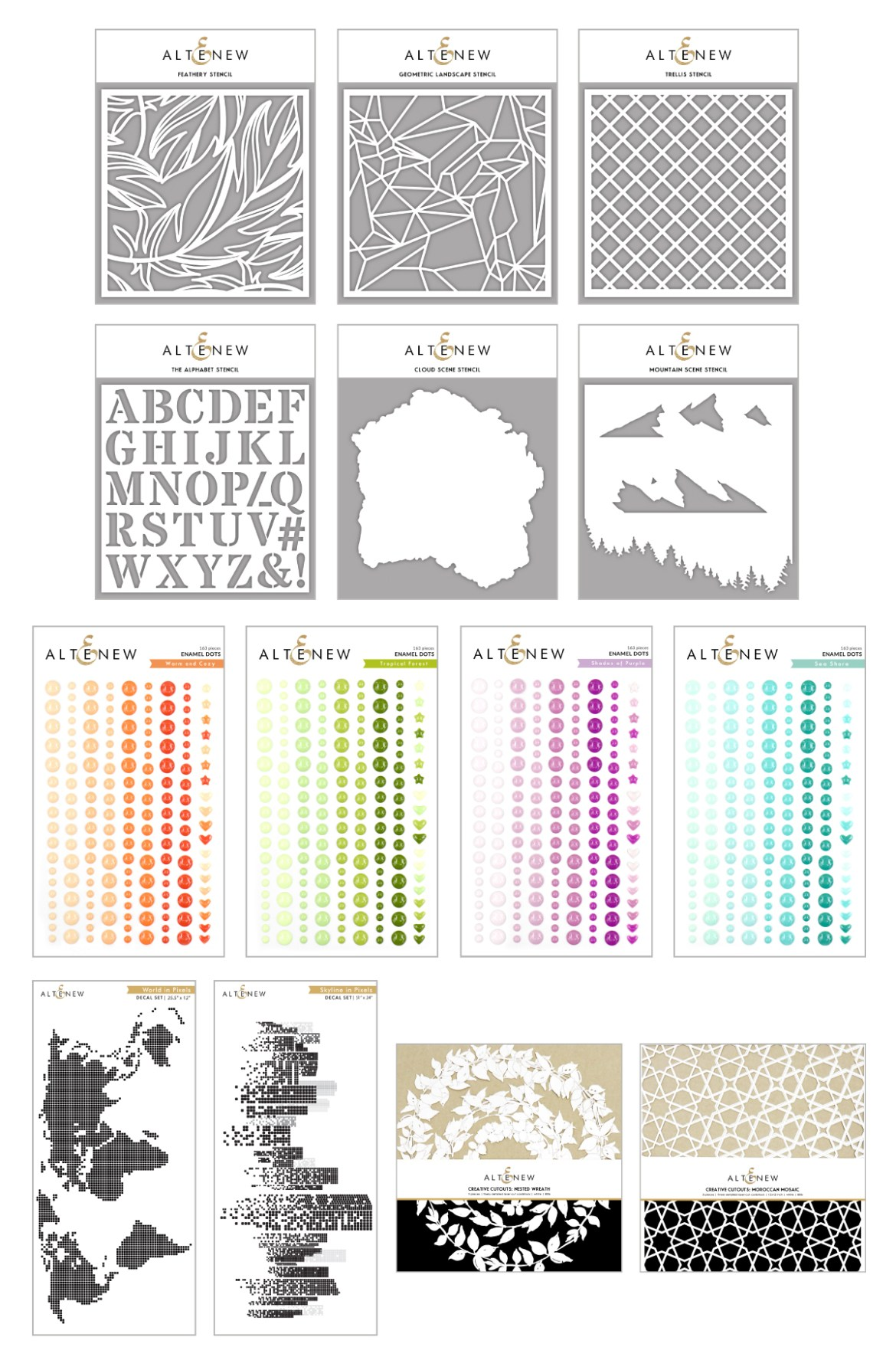 New Altenew Release: Stencils, Enamel Dots, Decals, Cut-outs