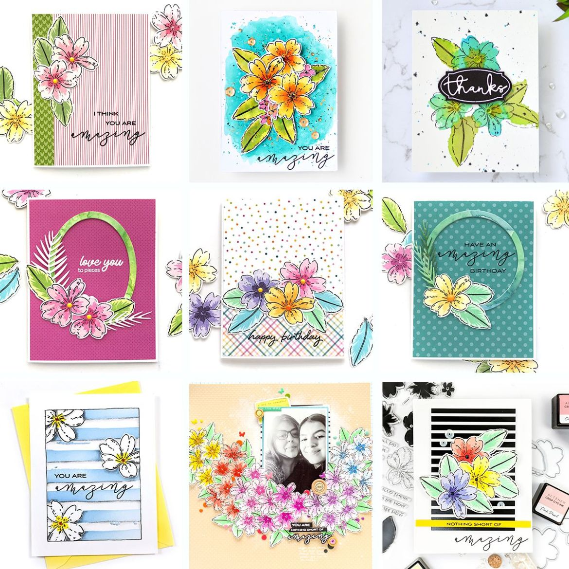 Beautiful Handmade Floral Cards Using Build-A-Flower Layering Stamps by Altenew Designers