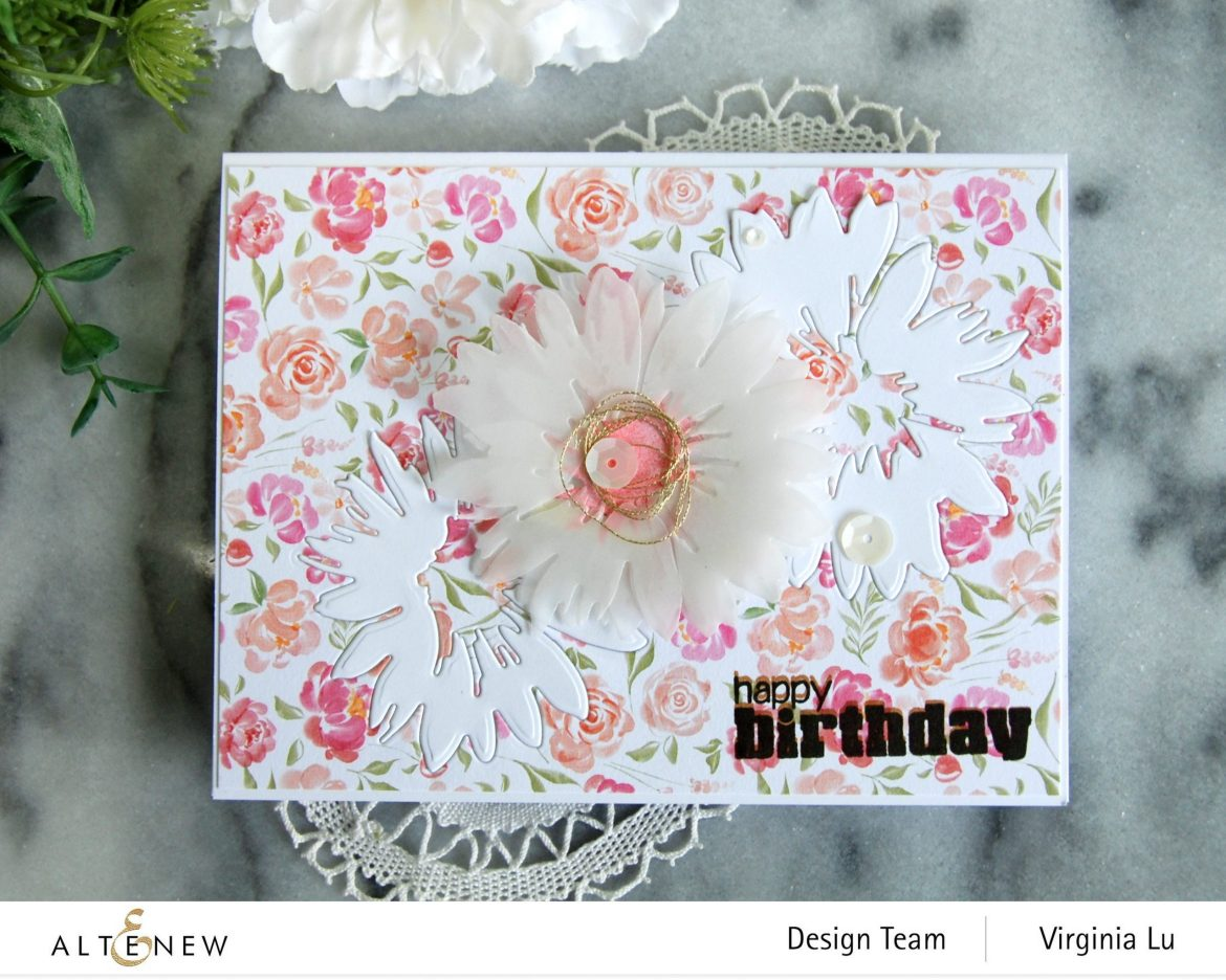 Altenew-Craft-a- Flower Daisy-Rounded-Checkerboard Stamp-Celebrate Paper Pad-809
