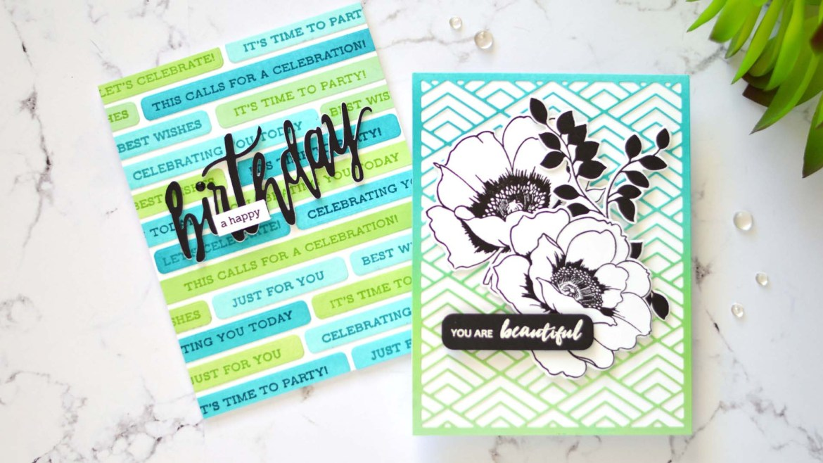 Altenew - Featured Sentiments Die - Stacked Diamonds Cover Die - Take 2 With Therese (card video)