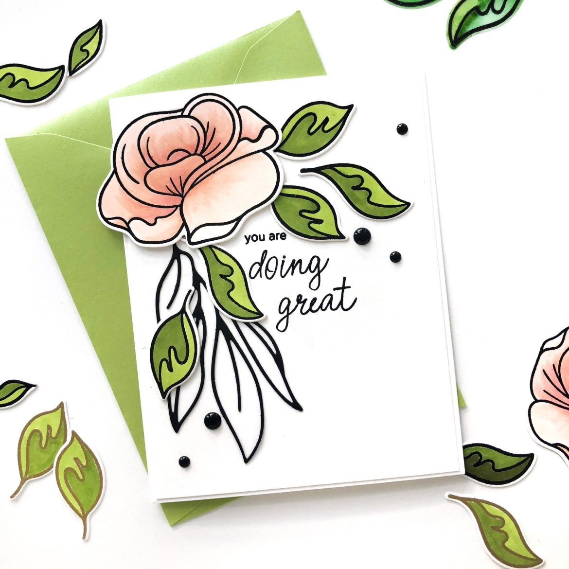 Beautiful Floral Card Using Altenew Simple Roses Stamp & Die Set