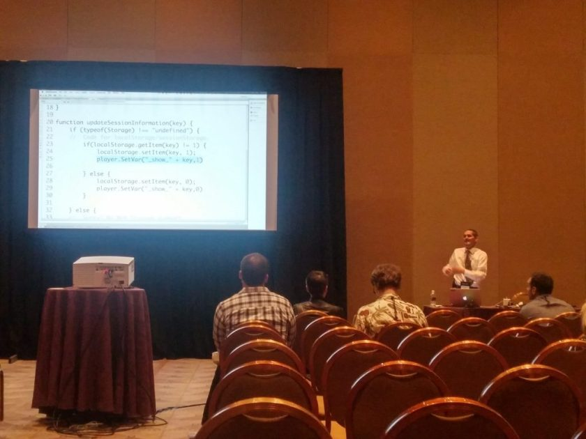 Mike Raines explaining code during his presentation at DevLearn 2016