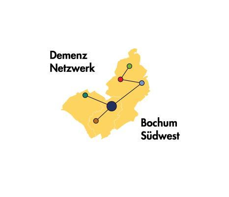 Logo des Demenz Netzwerk Bochum Südwest: Schmea des Stadtbezirkes sowie bunte Punkte, die mit Linien verknüpft sind und das Netzwerk darstellen.