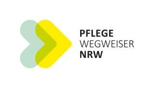 Zu sehen ist das Logo des Pflegewegweiser NRW. Ein gelber und ein grüner herz-ähnlicher Pfeil.