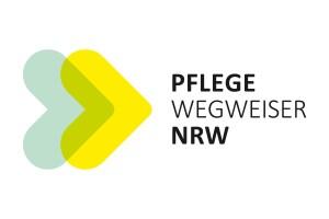 Das Logo des Pflegewegweisers. Ein grüner und ein gelber Pfeil.