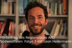 Portrait von Leon Hellermann mit Schriftzug Hörbeitrag