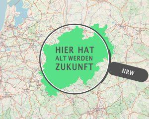 """Eine Lupe über der Karte von NRW. In der Lupe steht """"Hier hat alt werden Zukunft""""."""