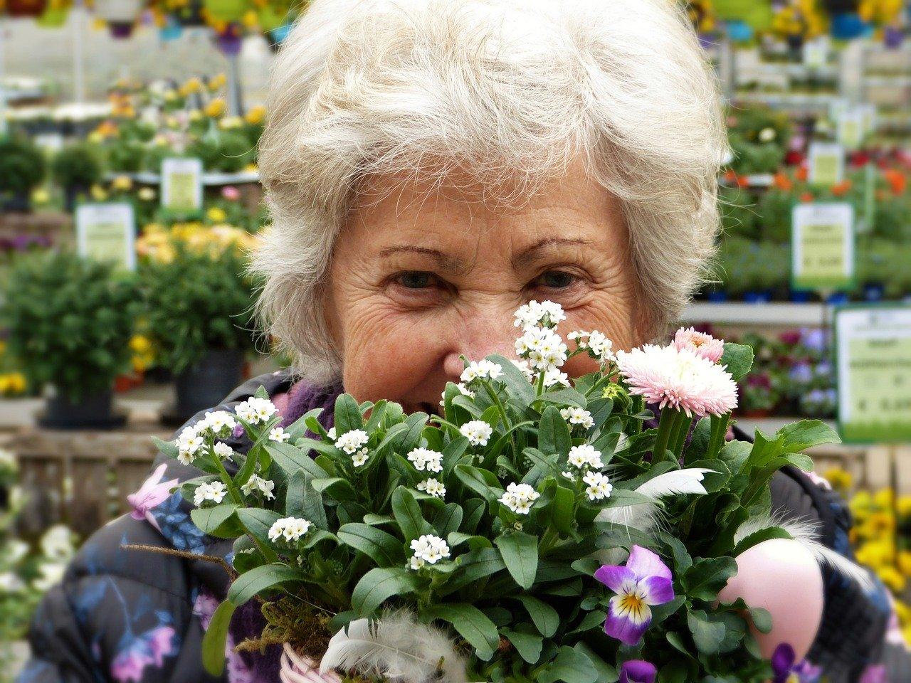 Ältere Dame mit grauen Haaren lächelnd hinter Blumen