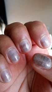 Newspaper ink transfer manicure