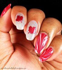 Polish used: Sally Hansen Insta Dri Rapid Red, OPI Oh My Majesty, Revlon Holographic Pearls