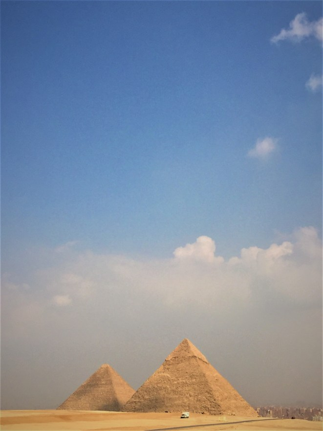 Two of the three imposing pyramids of Giza.