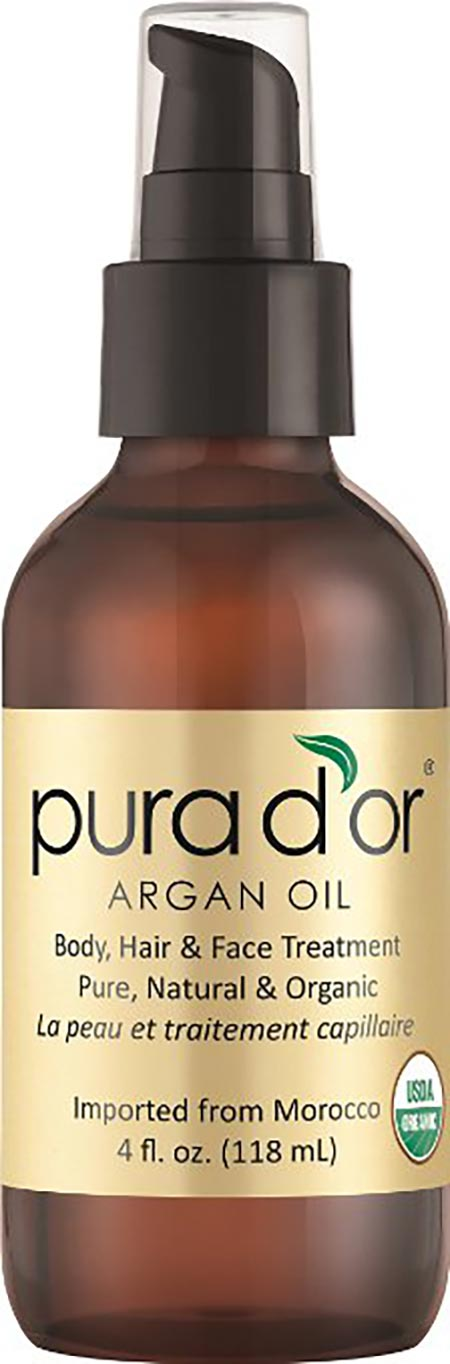 5. PURA D'OR Moroccan Argan Oil 100% Pure & USDA Organic