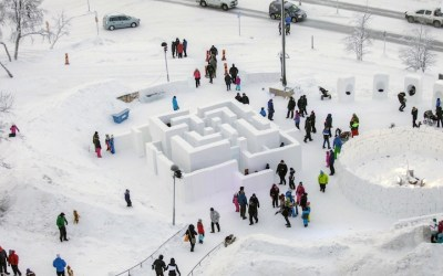 Sweden's ICEHOTEL Designers Create Elaborate Maze with Snow