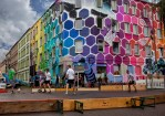 Colorful Honeycomb Mural Spans Entire Building in Halle, Germany