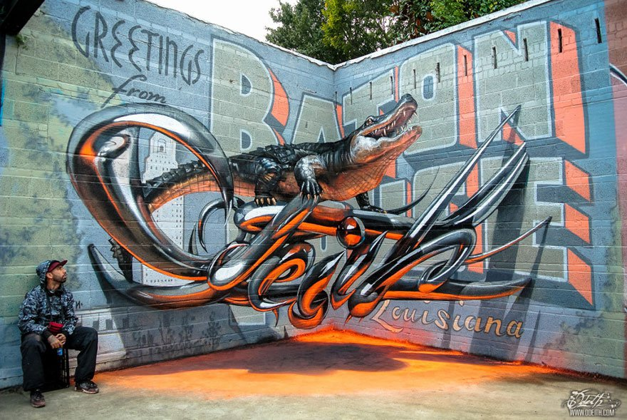 Street Artist From Portugal Creates 3D Graffiti That Appears To Float In The Air