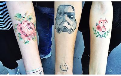 Pixel Art Cross-stitch Tattoos