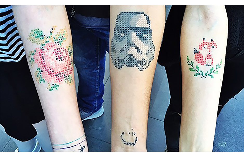 Pixel Art Cross-stitch Tattoos