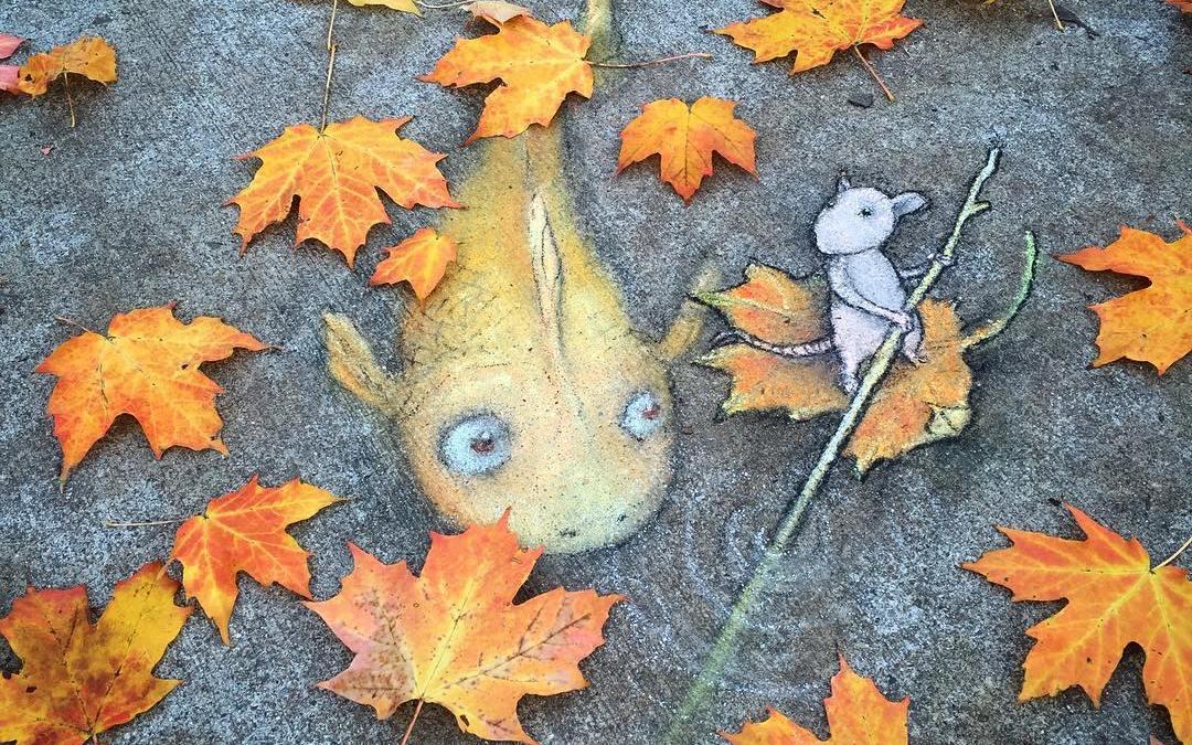 Chalk Art Creatures On The Sidewalk