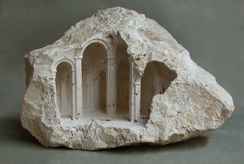 Miniature Architectural Structures Carved Into Raw Stone by Matthew Simmonds