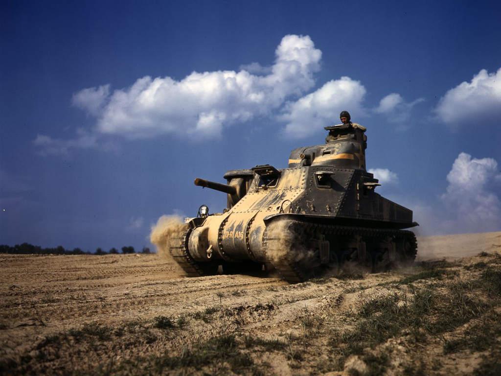 Life at Fort Knox in 1942 - 11. An M3 tank moving at speed.