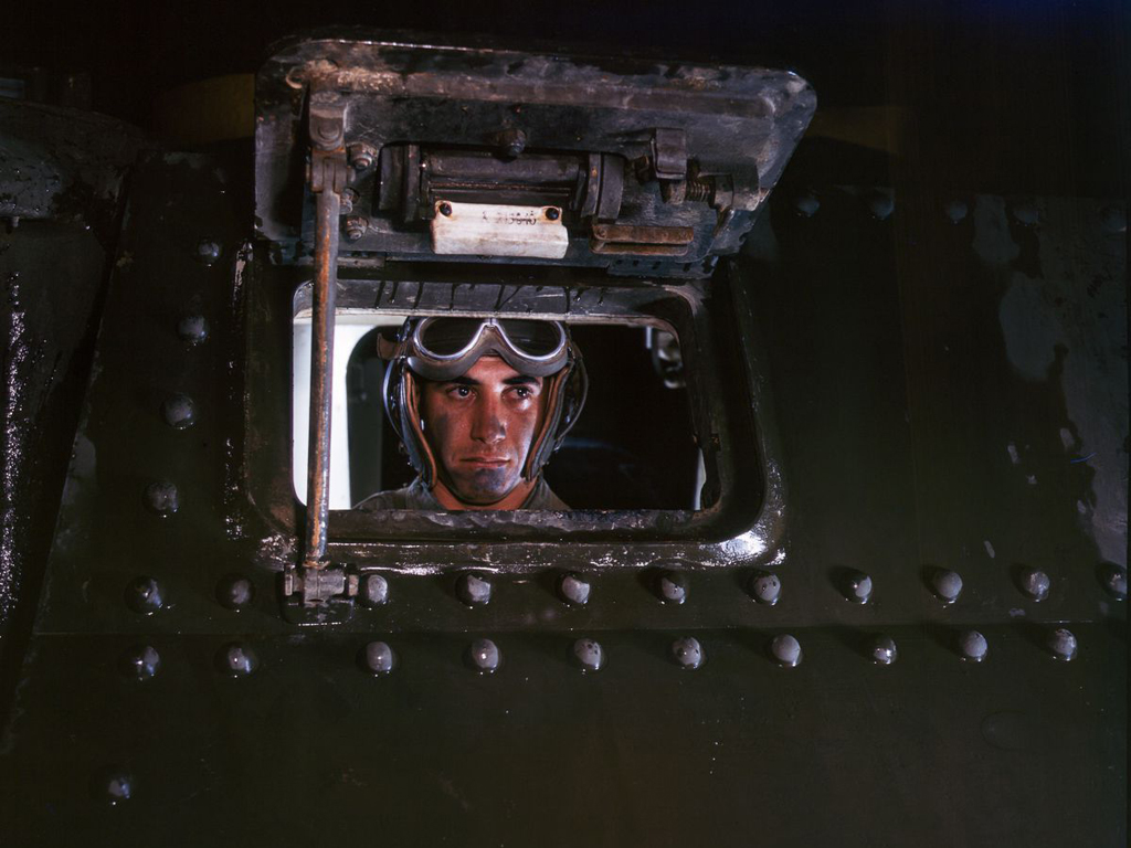 Life at Fort Knox in 1942 - 16. This tank driver looks like he's ready for business.
