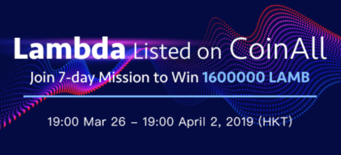 CoinAll Lists Lambda and Offers a 1.6 Million LAMB Giveaway