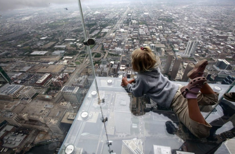 """""""The Ledge"""" is a glass balcony suspended 1300 feet in the air. And though the glass panes are supposed to hold over 10,000 pounds each, you will recall that just a few weeks ago a glass pane shattered giving a guest the scare of a lifetime. I can only imagine the horror of that moment."""