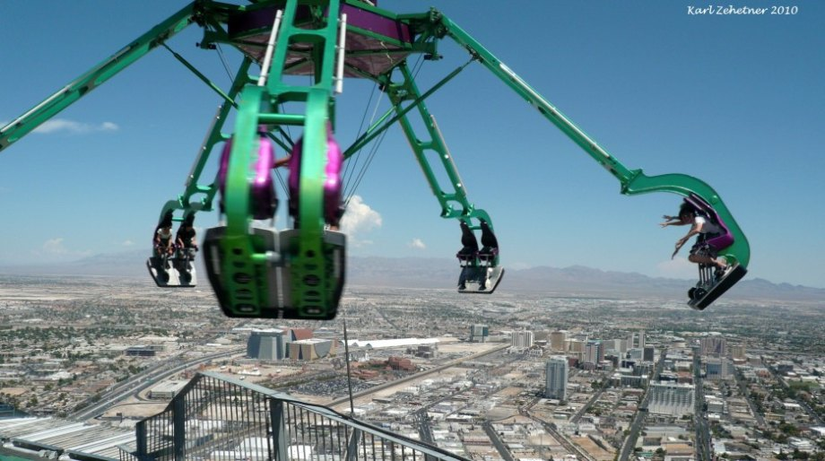 Insanity at the Stratosphere Hotel in Las Vegas, USA Insanity is a ride that spins you at speeds of up to three G's. It also hangs 64 feet from the side of the Stratosphere Hotel and 900 feet above the ground.