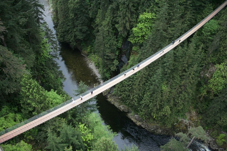 Cliffwalk follows the Capilano River for 700 feet and at its highest point, reaches 300 feet above the river.