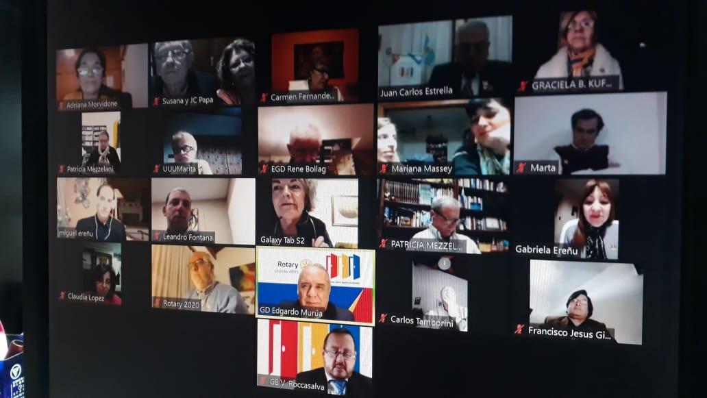 Por Zoom se realizó reunión del   Gobernador de Distrito , Edgado Murua , al Rotary Club de Escobar.
