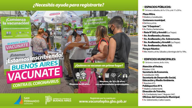San Fernando ayuda a registrarse para vacunarse contra el Covid-19 en distintos puntos de la ciudad