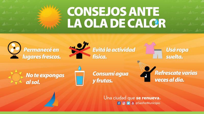 El Municipio de San Fernando brinda consejos ante la ola de calor