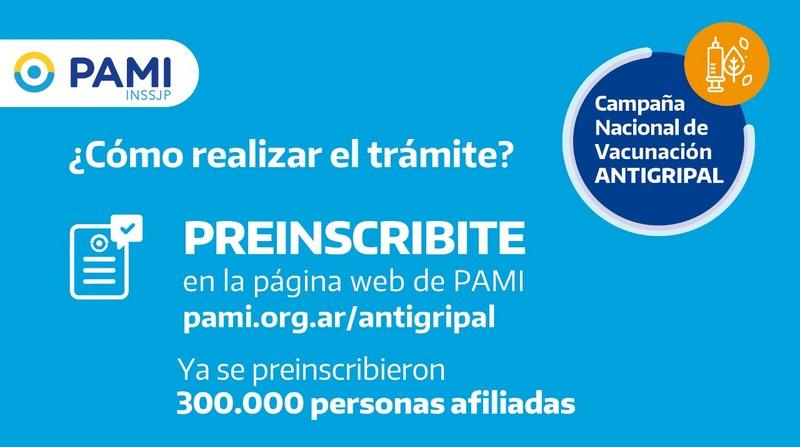 PAMI, ya se inscribieron 300.000 personas afiliadas para recibir la Vacuna Antigripal