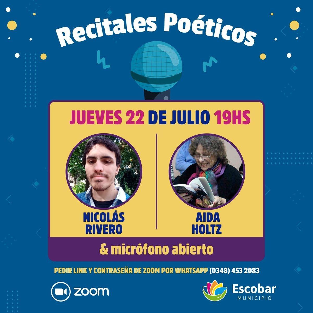 Escobar, Nicolás Rivero & Aida Holtz, en el Ciclo de Recitales Poéticos 2021