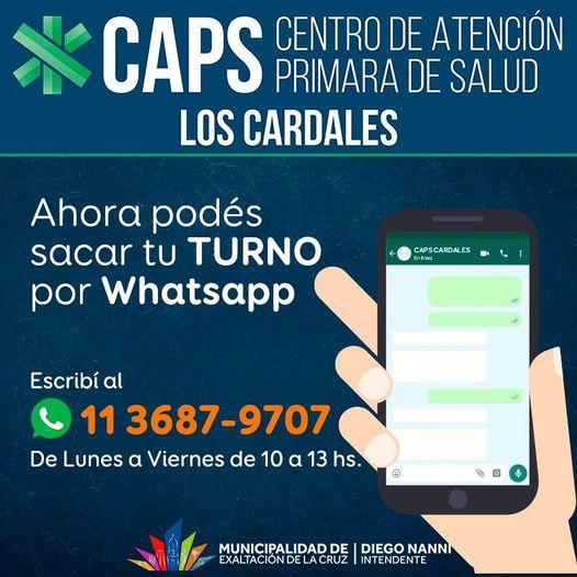 Los Cardales,ahora se puede sacar turno para elCAPS por WhatsApp